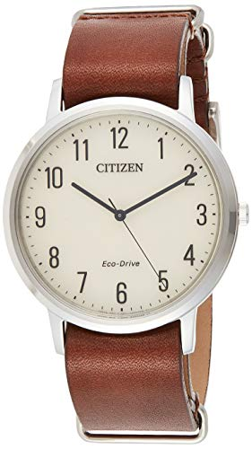 Citizen Eco-Drive Chandler Quartz Mens Watch, Stainless Steel with Leather strap, Weekender, Brown (Model: BJ6500-21A)