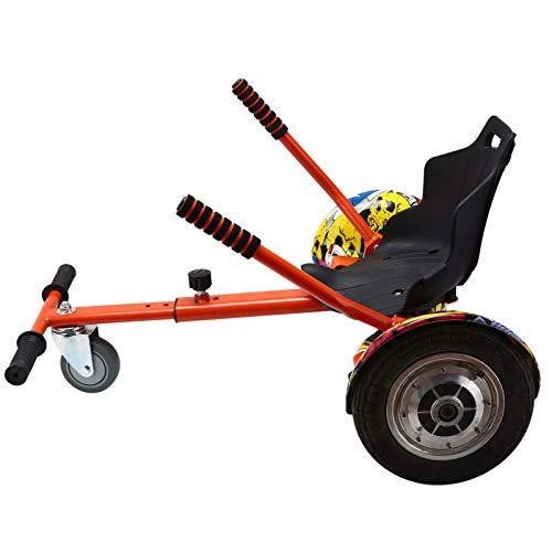 Sillón de corredor de naranja, accesorio de kart de flores para scooter eléctrico inteligente ajustable, hoverboards, adultos y niños puede jugar, todas las edades a