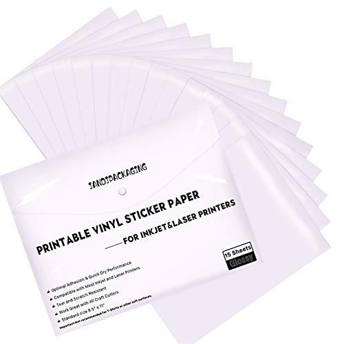 Printable Vinyl Sticker Paper - Waterproof Printable Vinyl for Laser & Inkjet Printer 15 Self-Adhesive Sheets - Glossy White - Standard Letter Size 8.5'x11'