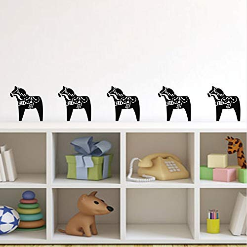 Cyalla 8 Stks Dala Paard Patroon Muurstickers Nordic Art Decor Cartoon Dier Pony Vinyl Muursticker Huis Meubilair Decor