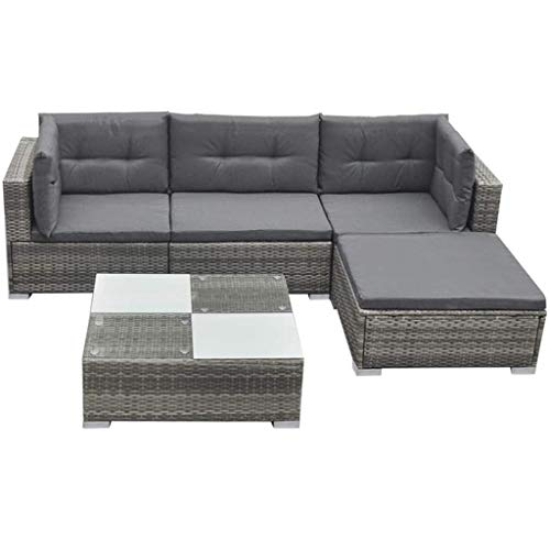 vidaXL Garden Lounge Set 14 Pieces Poly Rattan Grey Outdoor Patio Sofa Seat