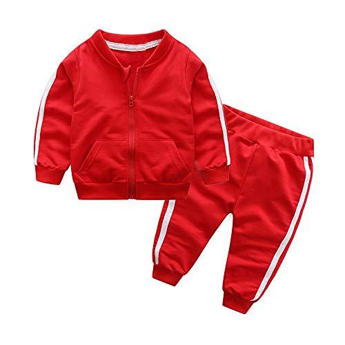 PPangUDing Babykleidung Baby Jungen Mädchen Kleidung Set, Mode Einfarbig Langarm Full Zip Jogginganzug Trainingsanzug Strickjacke Tops + Lange Sporthosen Unisex Zweiteiliger (18M,rot)