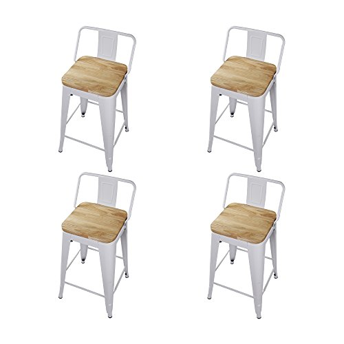 GIA 24-Inch Low Back Stool with Wooden Seat, White/Light Wood, 4-Pack