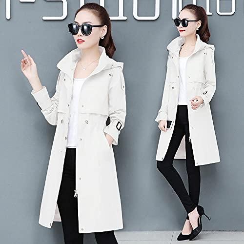 Wuyuana Cappotto Trench con Cappuccio da Donna Cappotto di Grandi Dimensioni Ladies Ladies Long Trench Coat Fashion Slim Giacca da Donna .Cappotti da Donna (Color : White, Size : 3X-Large)