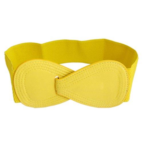 Cinturón amarillo de piel sintética para mujer