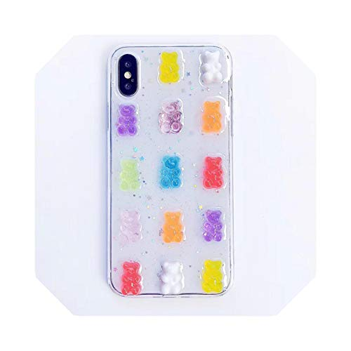 Candy Colors Bear Phone Case para iPhone 12 Mini 12Pro Max X 6 7 8 Plus XR XS Max Soft Cover Cases for iPhone 11 Pro Max-Clear-for iPhone XR