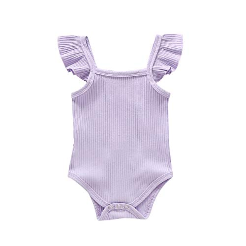 Toddler Girl Clothes Onesies Baby Girl Ruffle Romper Sleeveless Jumpsuit Cute Purple One Piece Outfits Solid Color Bodysuits Halter Backless Tops Clothing Playsuit 18-24 Months