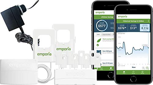 Emporia Vue Smart Home Energy Monitor with Expansion Module and 8 Sensors | Real Time 24/7 Electricity Monitor/Meter | Solar/Net Metering | Track Circuits Without the Guesswork | 3-Phase Option