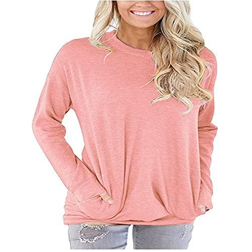 PRJN Camiseta de Manga Larga para Mujer Tops Casuales Tops Suéter de Cuello Redondo Camisetas de Manga Larga Casuales para Mujer Suéter de Camiseta de Cuello Redondo para otoño Camiseta de Manga