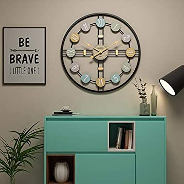 Funtabee London 20in Multi-Colour Large Retro Metal Kitchen Wall Clock with Golden Hands, Modern Black Wall Clock, Silent Non