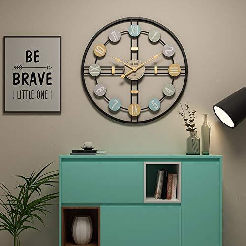 Funtabee - Reloj de pared con diseño de esqueleto de metal grande con manecillas doradas, moderno reloj de pared de 50cm,...