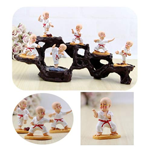 EXCEART Kung Fu Monk Decorations Resin Monk Figurine Small Buddha Sculpture Car Interior Display Car Ornament Home Decor 6pcs