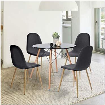 Siete Siete Mesa para Comedor de 2 a 4 Personas Estilo Eames Vintage Color Negro Patas de Madera
