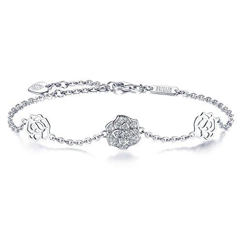 Billie Bijoux Frauen 925er Sterling Silber Diamant Rose Liebes-Symbol Charme Einstellbare Armband für Frauen Mädchen Weißgold plattiert