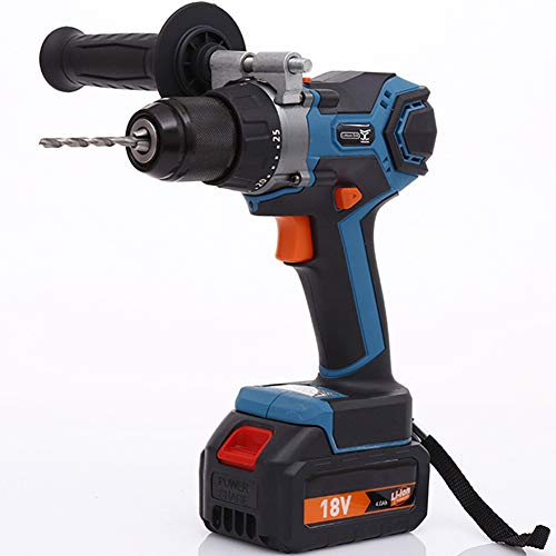 EastMetal Multifunction Impact Drill 18V Power Drill 25+3 Torque Adjustment Electric Screwdriver with Auxiliary Handle Hammer Function LED Light 2 Li-Ion Battery, for DIY Project, Drilling, Screwing