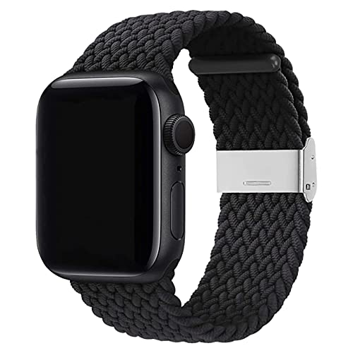 Seltureone Compatible with Apple Watch Bands 38 mm 40 mm 42 mm 44 mm Women Men Adjustable Braided Solo Loop Stretchable Elastic Sport Bracelet for iWatch Series 6 / SE / 5/4/3/2/1 with Buckles