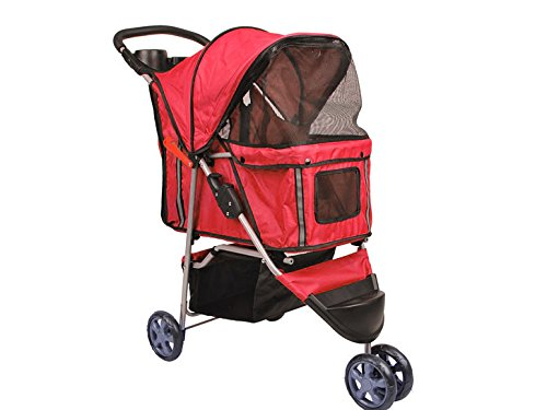 Bc-elec - 5663-0015Ared Tier-Buggy mit 3 Rädern Hundebuggy, Farbe rot