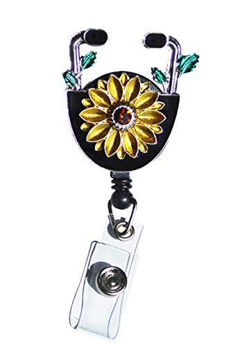 1Pcs Sunflower Nurse Badge Holder - Nurse Gifts for Women, Nurse Badge Reel Retractable, Cute Nurse Graduation Gift, Id Name Tag for Nurses