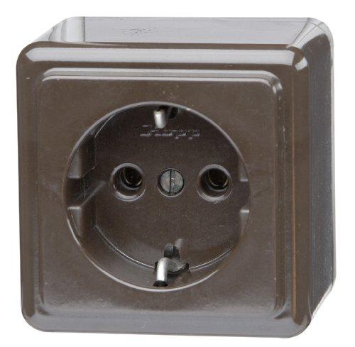 Kopp 101806004 Schutzkontakt-Steckdose 1-fach, Aufputz 16 A, 250 V, arktis