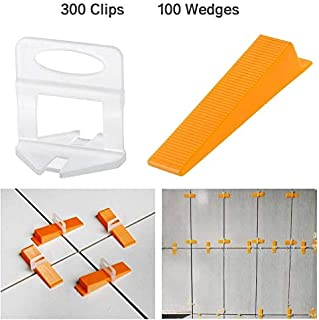 OGORI Tile Leveling System 1/8 inch Kit-300 Leveling Spacer Clips Plus 100 Reusable..