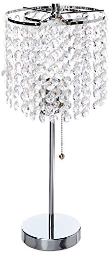 SH Lighting Crystal Inspired Table Desk Lamp - Features Convenient Pull Chain - 19' Tall Great for Bedrooms, Living Rooms, or Offieces - Chrome