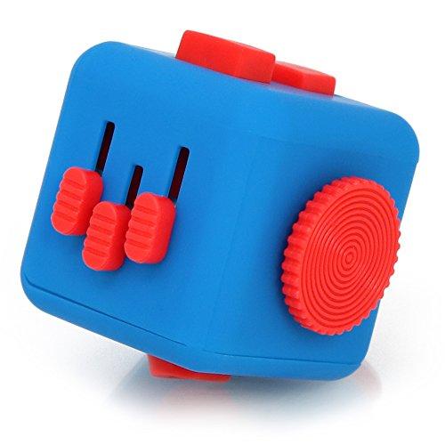 com-four® Fidget Antistress-Cube - Stress Würfel mit vielen Funktionen Spielzeug für Stressabbau und bei Nervosität - [Farbe variiert!] (01 Stück - Würfel)