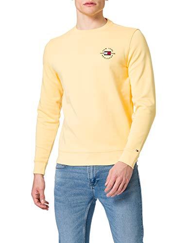 Tommy Hilfiger Circle Chest Corp Crewneck Suéter, Amarillo Delicado, S para Hombre