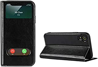 Jaorty iPhone XR Case,Ultra Thin Flip Cover Case Dual Window View with Foldable Kickstand Feature Folio Slim Luxury Premium Genuine Leather Phone Case for Apple iPhone XR,for Men Women,Black