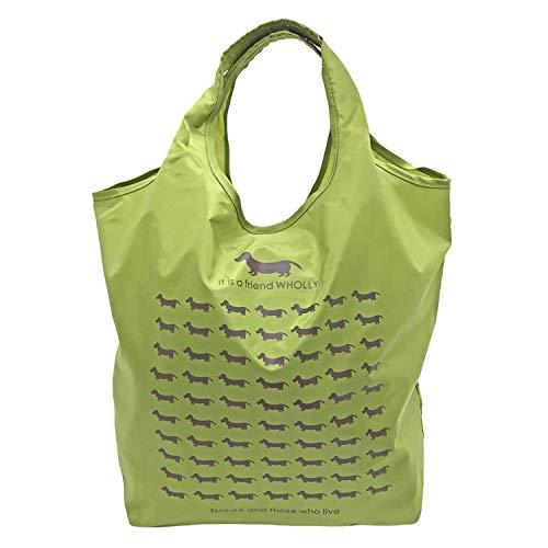 優美社 エコバッグ 犬柄 グリーン 約縦37×横32×マチ21cm WHOLLY 折りたたみ コンパクト 買い物袋 3L02-01