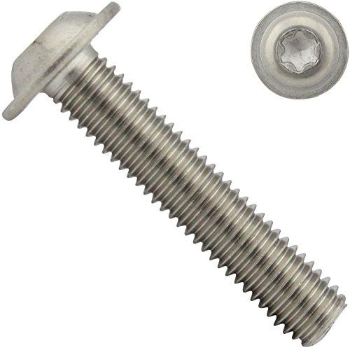 Linsenkopfschrauben mit Flansch und Innensechsrund ( ISR ) - M4x8 - ( 50 Stück ) - ISO 7380-2 TX - rostfreier Edelstahl A2 V2A - Vollgewinde - Flanschschrauben - Flachkopfschrauben - SC7380-2TX