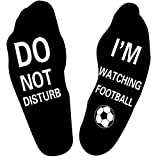 Himozoo 'Do Not Disturb I'm Watching Football or Rugby' Socks Novelty Funny Socks for Men Women Rugby Lovers Gifts (Full Black-football)…