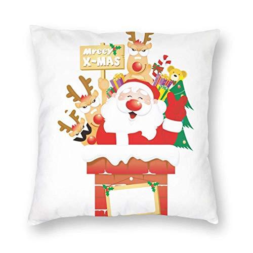 Traveler Shop Kissenbezüge Merry Santa Fireplace Throw Kissenbezüge für Bed Sofa Chair Car Home Dekorativ, 18x18in