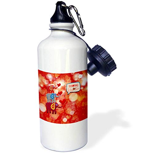 3dRose Beverly Turner Valentine Design - Image of Stacked Plaid Elephants and Hearts, Sending Hugs Heart Kisses - 21 oz Sports Water Bottle (wb_306377_1)