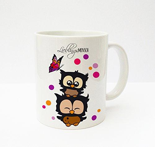 ilka parey wandtattoo-welt® Becher Tasse Kaffeetasse Cup Mug Eulen Konfetti Schmetterling Lieblingsmensch ts137