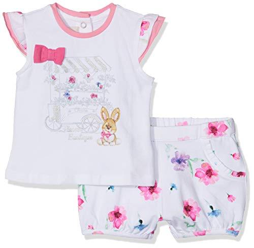Chicco Completo t-Shirt Manica Corta + Pantaloncini Completino, Bianco (Bianco 033), 50 (Taglia Produttore:050) Bimba
