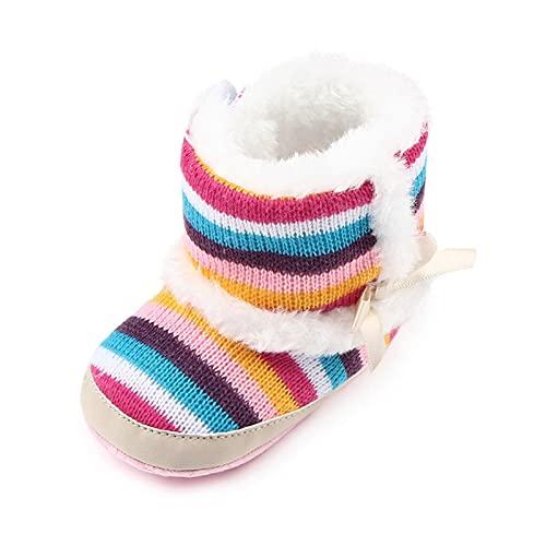 FURONGWANG6777BB Baby Boys Girls Botas de Nieve Newborn Super Mantenga cálido Invierno Botas de Nieve Coloridas Zapatos Antideslizantes a Rayas (Color : Black, Size : 12-18 Months)