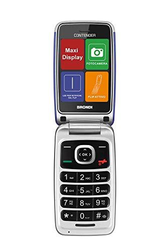 Brondi Contender Telefono Cellulare GSM DUAL SIM con Tasti Grandi, Blu/Viola