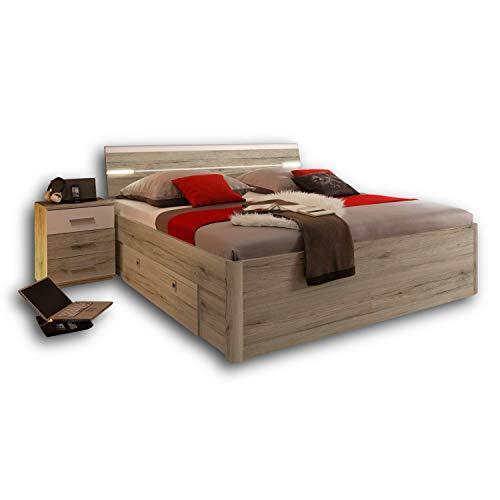 Stella Trading MARS Stilvolle Doppelbett Bettanlage 180 x 200 cm mit 2x Nachtkommoden - Schlafzimmer Komplett-Set in Eiche San Remo Optik, weiß - 216 x 97 x 185 cm (B/H/T)