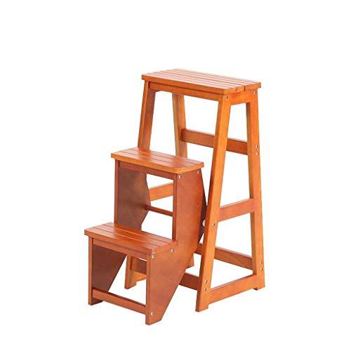 ZFFSC Taburete de madera maciza multifunción, plegable, con escalera, de doble uso, de tres pasos, escaleras, taburete de almacenamiento