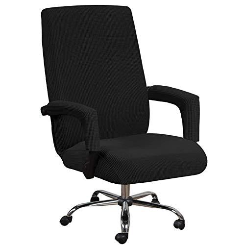 HINMAY Fundas elásticas para silla de oficina con funda de apoyabrazos, patrón jacquard con respaldo alto para silla de ordenador extraíble para silla giratoria universal (L, negro)