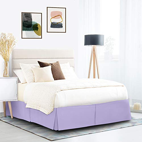 "Pleated Bed Skirt, Wrap Around Bed Skirt, Easy Fit 14"" Inch Bed Skirt, Soft Double Brushed Premium Microfiber Ruffle Bed Skirt, Luxury Bedskirt, Hotel Quality Dust Ruffle, Full XL Bed Skirt Lavender"