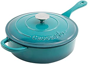 Crock Pot Artisan 3.5QT Enameled Cast Iron Deep Saute Pan w/ Lid, Teal