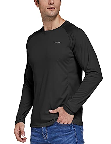 FitsT4 - Camiseta deportiva de manga larga para hombre (protección UV UPF 50+, secado rápido), Negro , XXXL