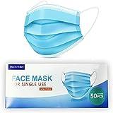 Moon-Valley 50 Stück Mundschutz Einwegmaske Mundschutzmasken 3 Schichten Masken Einweg Vlies Atemschutz Hygienemaske Gesichtsmaske