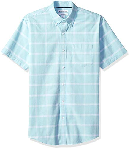 Amazon Essentials – Camisa Oxford de manga corta de corte recto para hombre, Azul (Aqua Windowpane Aqu), US S (EU S)