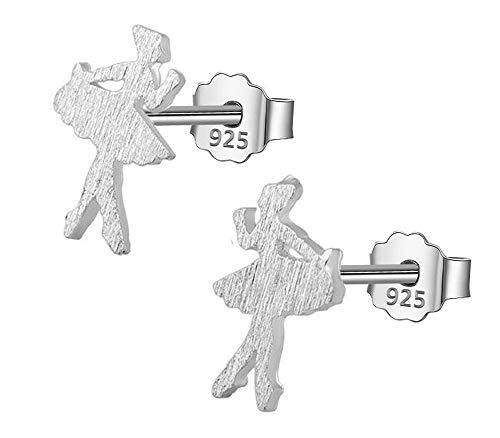 Shabana - Pendientes bailarinas de plata 925 con diseño de estrella – Idea regalo para niña o mujer que ame la danza