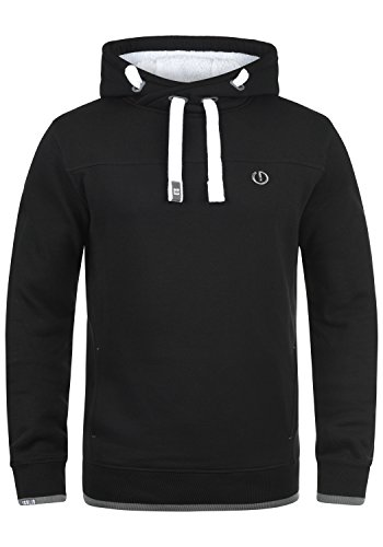 !Solid BenjaminHood Pile Herren Kapuzenpullover Hoodie Sweatshirt mit Teddy-Futter Meliert, Größe:L, Farbe:Black Pil (P9000)