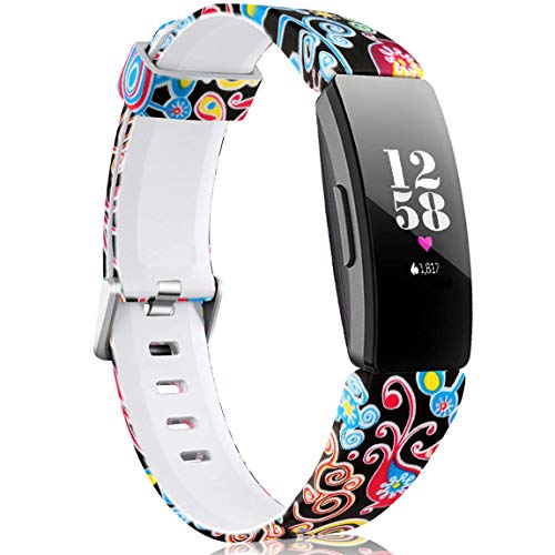 Maledan Bands Compatible with Fitbit Inspire 2/Inspire HR/Inspire/Ace 2, Fadeless Replacement Pattern Printed Strap Band for Women Girls, Jellyfish, Large