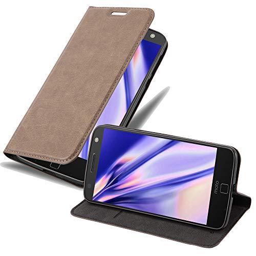 Cadorabo Hülle für Motorola Moto Z in Kaffee BRAUN - Handyhülle mit Magnetverschluss, Standfunktion & Kartenfach - Hülle Cover Schutzhülle Etui Tasche Book Klapp Style