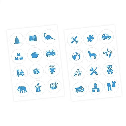 Meubelsticker Bestel Sticker voor Speelgoed Blau/Weiss Kwekerij Opslag Speelgoed Eenvoudig aan te brengen en Verwijderbaar